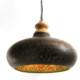 Oosterse hanglamp | Filigrain lampen | Oosterse interieur | Houten bovenkant | Vintage Goud | Outlet