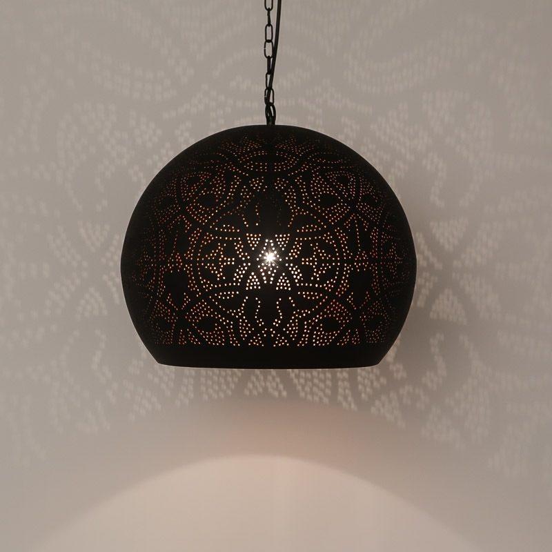 Oosterse filigrain hanglamp mat zwart vintage koper Arabische verlichting Marokkaanse lamp Oosters interieur