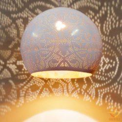Oosterse filigrain hanglamp | Marokkaanse lampen | Vintage wit met goud | Oosters interieur | Outlet