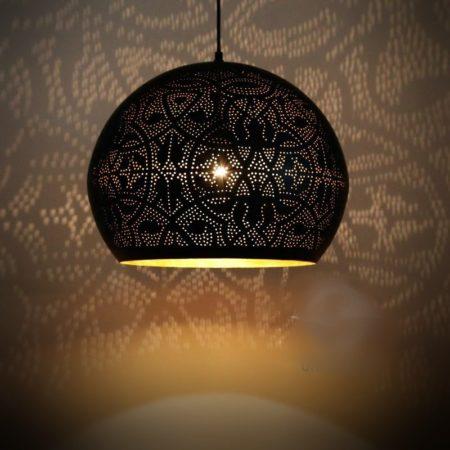 Oosterse hanglamp Filigrain Marokkaanse lamp mat zwart met vintage goud