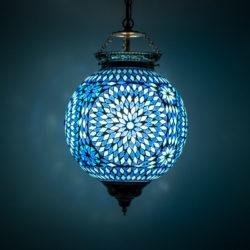 Oosterse hanglamp mozaïek blauw Marokkaanse lamp