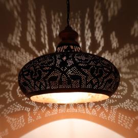 Oosterse hanglamp | Filigrain lampen | Oosters interieur | Houten bovenkant | Vintage goud