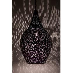 Oosterse filigrain hanglamp zwart met Vintage zilver