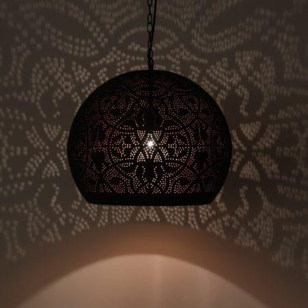 Oosterse hanglamp Arabisch filigrain mat zwart vintage koper Marokkaanse lamp voor een Oosters interieur