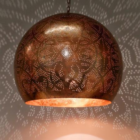 Oosterse filigrain hanglamp | Grote eettafel lamp | Metaal | Gaatjes | Moderne lampen | Oosters interieur