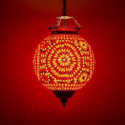Oosterse lamp mozaïek rood oranje Marokkaanse hanglamp