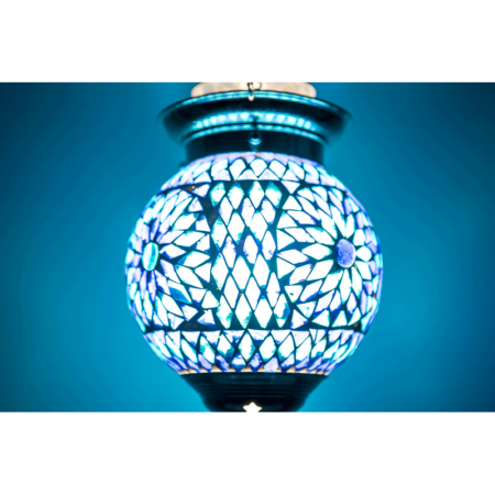 Oosterse lamp glasmozaïek blauw hanglampen