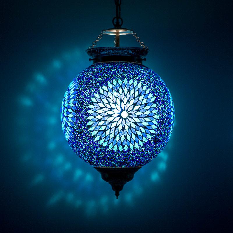 Oosterse hanglamp blauw mozaiek Oosterse inrichting Arabische lampen