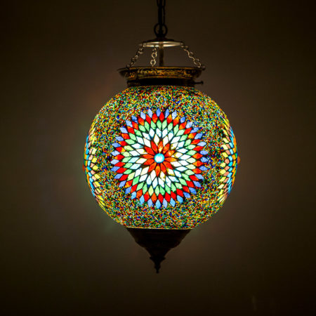 Marokkaanse hanglamp mozaïek multi-colour Oosterse lampen interieur inrichting
