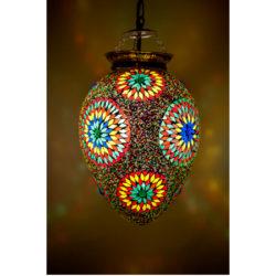 Oosterse hanglamp mozaïek multi-colour papaya model