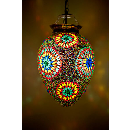 Oosterse hanglamp mozaïek multi-colour papaya model