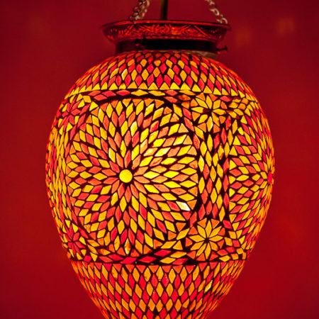 Oosterse mozaiek lamp | Papaya | Rood Oranje | Oosters interieur