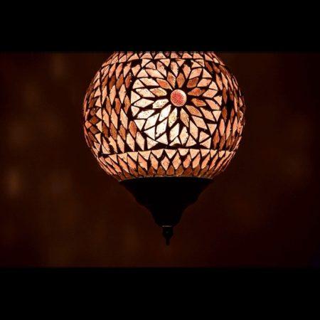 Oosterse lamp paars glas mozaïek filigrain Outlet Amsterdam