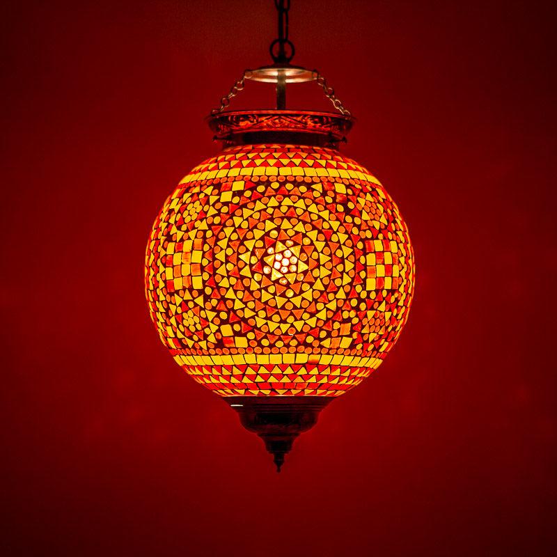 Oosterse mozaiek hanglamp rood/oranje, Marokkaanse lampen Arabische sfeer