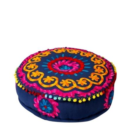 Oosterse poef | Indiase poef | Geborduurde poefen | Marokkaanse poef | Arabische kussens | Oosters interieur | Paarse poef | Blauw