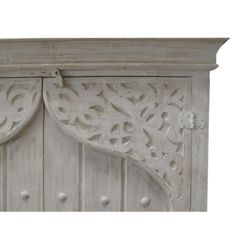 Oosterse kast Sultan met Arabisch houtsnijwerk bovenzijde White wash kleur | Amsterdam