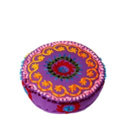 Oosterse poef | Indian | Paars | Bloemen motief | Marokkaanse poefen | Oosters interieur