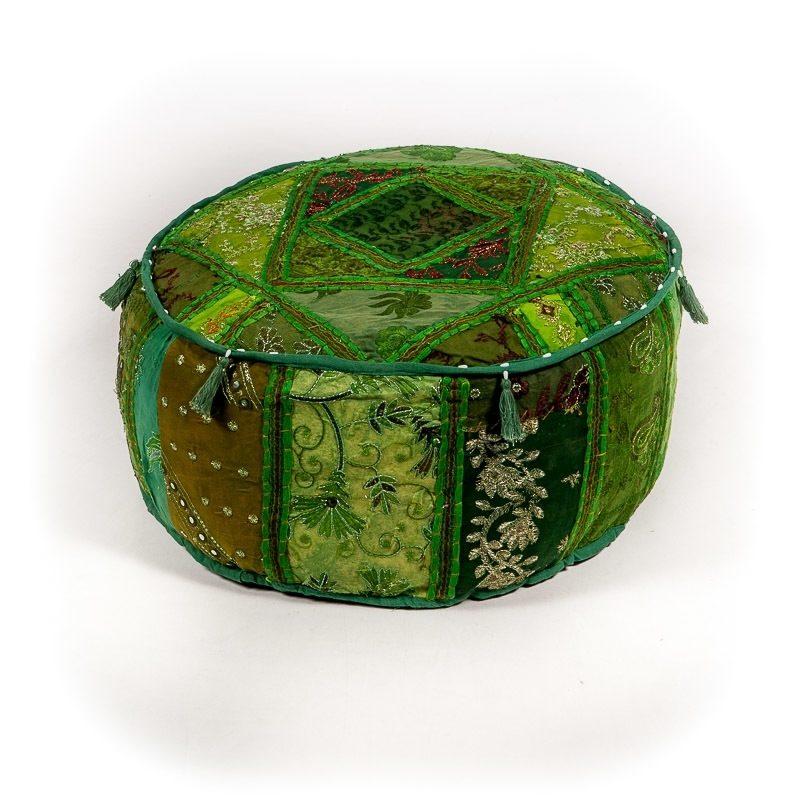 Oosterse poef patchwork groen | Oosterse kussens | Arabische poef