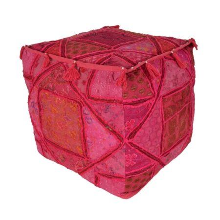 Oosterse poef | Roze poef | Patchwork poefen | Marokkaanse kussens | Oosters interieur