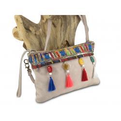 Ibiza tas met verstelbare schouderband en gekleurde kwastjes