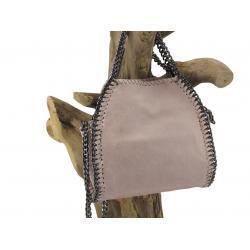 Leren handtas/ schoudertas met rits, poederroze