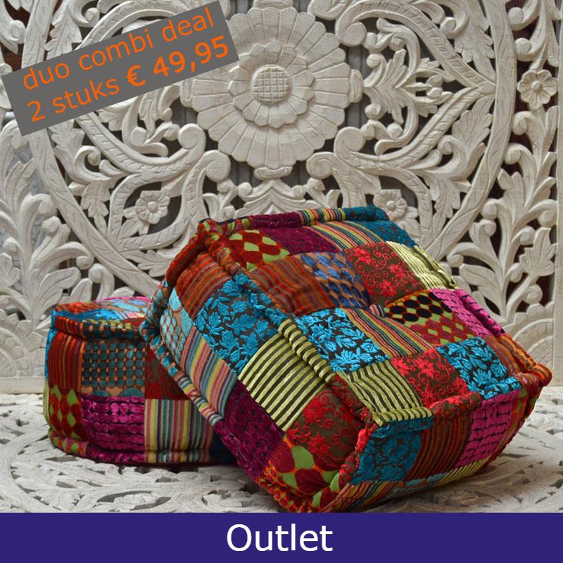 Aanbieding Oosterse patchwork poefen 2 stuks 49.95 Kalini's Outlet