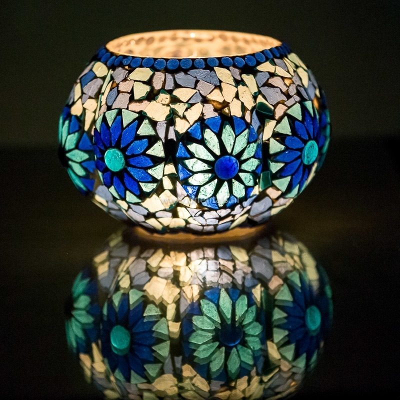 Oosterse waxinehouder | Mozaïek | Blauw | Arabische verlichting | Marokkaans | Interieur