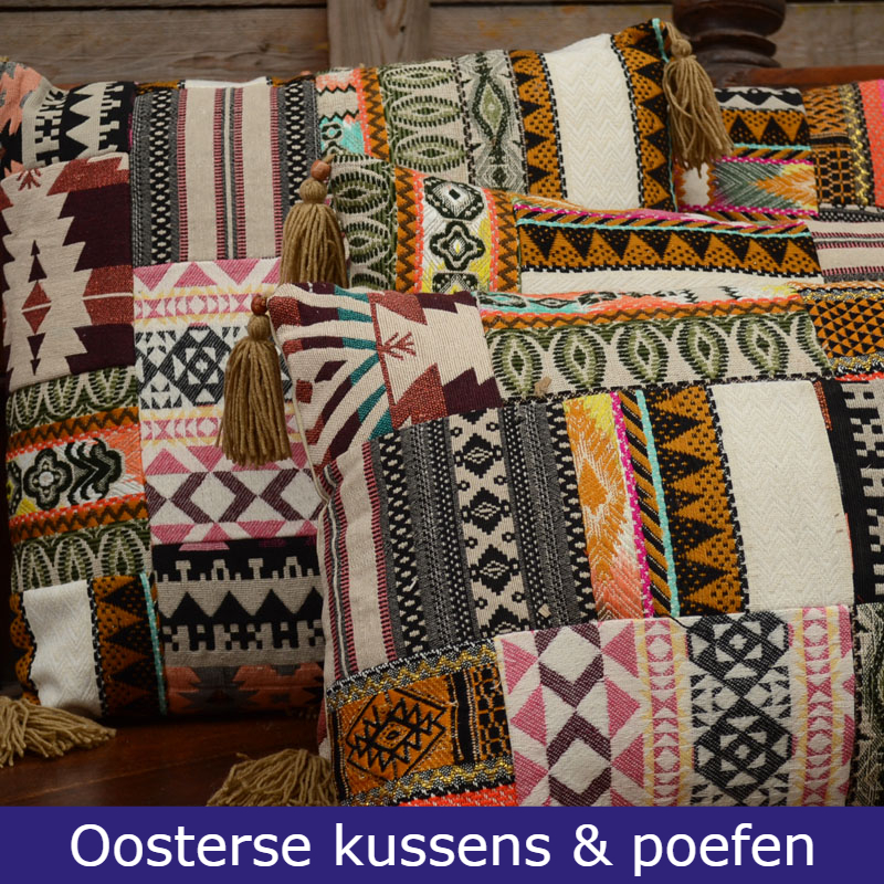 Oosterse kussens en poef Patchwork kussens Marokkaans kussen Outlet Oosters interieur