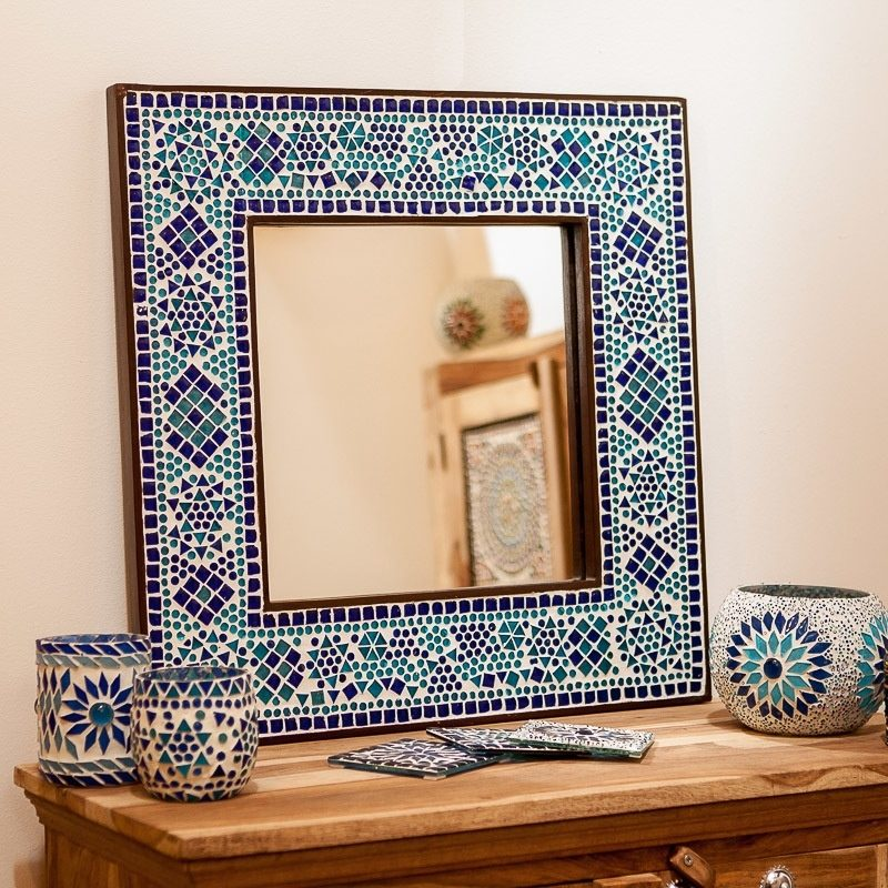 Oosterse spiegel | Mozaïek lijst | Blauw | Oosters interieur | Kalini