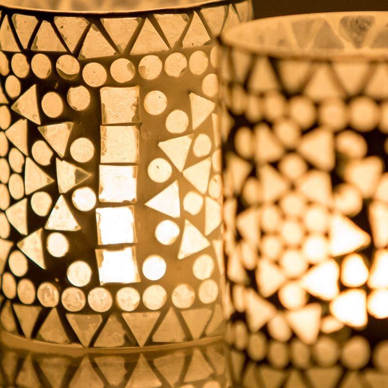 Oosterse waxinelichthouder | Oosters interieur | mozaïek verlichting