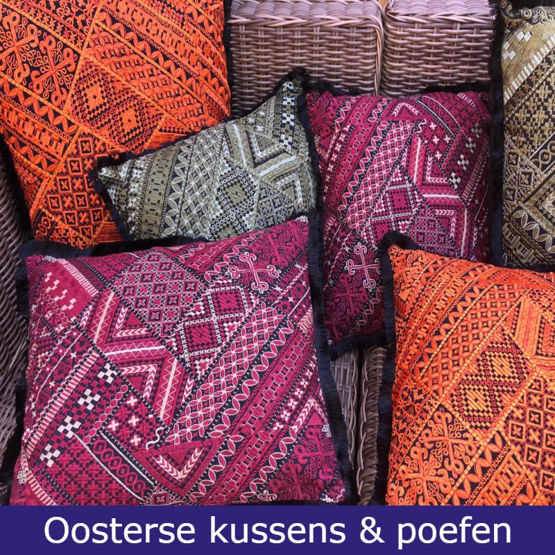 Oosterse kussens en poefen | Patchwork kussen | Ibiza kussen | Marokkaanse kussens | Arabisch interieur