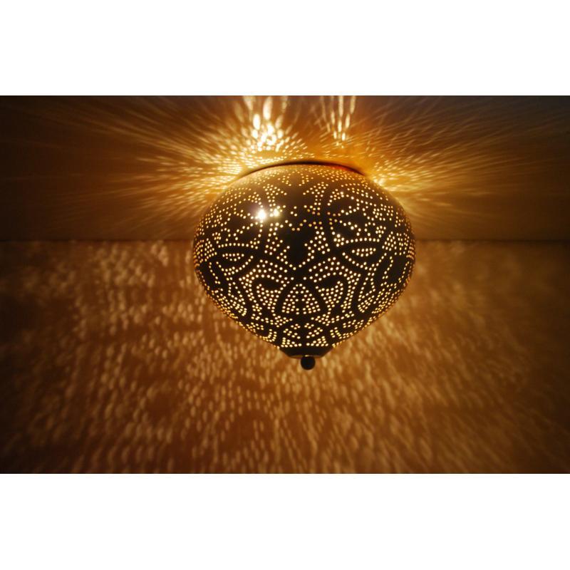 Oosterse plafonnière   Arabische plafondlamp   Filigrain   Wit   Goud   Metaal