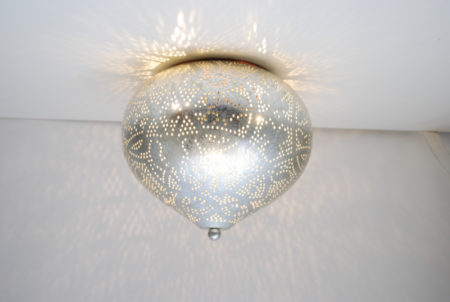 Oosterse filigrain plafonnière | Vintage zilver | Arabische plafondlamp | Oosters interieur