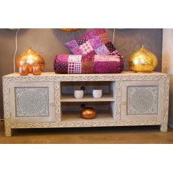 Oosters tv-meubel | White washed | Mozaïek | Marokkaanse kast