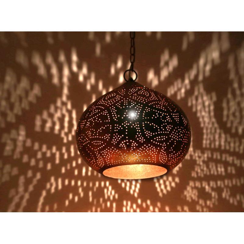 Oosterse filigrain hanglamp | Vintage koper | Oosterse lampen | Arabische lamp
