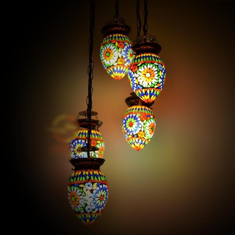 Oosterse hanglamp 5 bol   Mozaïek   Marokkaanse lamp   Oosterse lampen