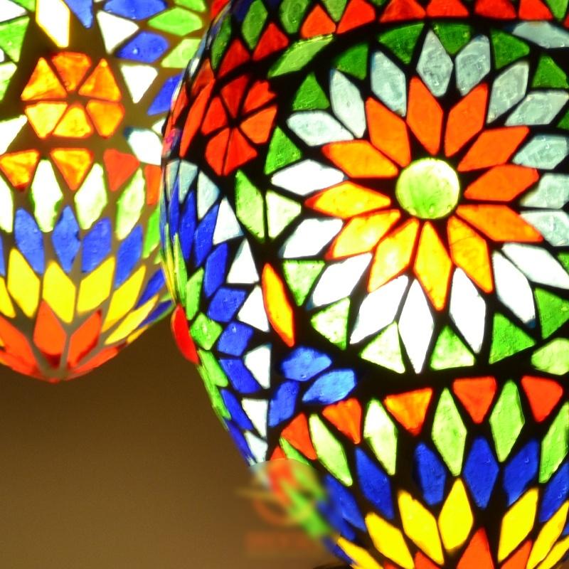 Oosterse lamp   Hanglamp   5 mozaïek bollen   Arabische lamp