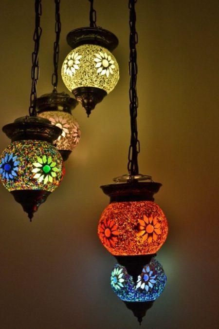 Oosterse hanglamp all colours | mozaïek mix | Arabische lampen | Marokkaanse inrichting | Oosterse verlichting | Gratis verzenden