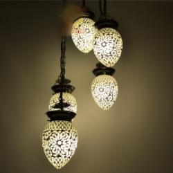 Oosterse hanglamp 5 bol met prachtig transparant glasmozaiek | Oosterse lampen voor ieder interieur