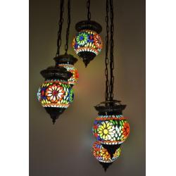 Oosterse lamp mozaïek | Arabische hanglamp | Oosters interieur | alle kleuren | 5 bollen | Oosters interieur