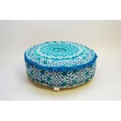 Oosterse poef mandala | Turquoise | Marokkaanse poef | Arabische kussens | Oosters interieur