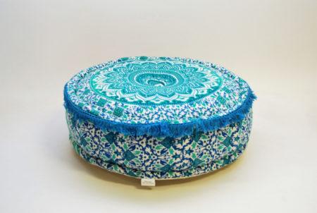 Oosterse poef mandala   Turquoise   Marokkaanse poef   Arabische kussens   Oosters interieur