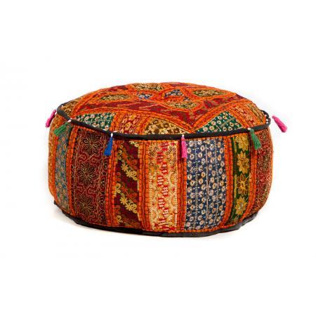 Oosterse patchwork poef | India | Oranje | Hoge poef | Marokkaanse kussens | Arabische poefen