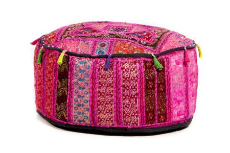 Oosterse poef patchwork | Roze | Arabische kussens en poefen | Amsterdam