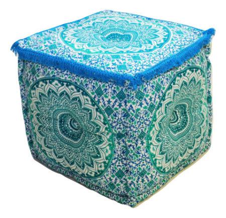 Oosterse poef mandala | Turquoise | Arabische poefen | Oosters interieur | Ibiza poef