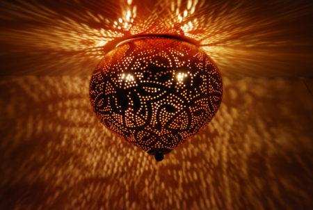 Oosterse plafonnière | Vintage koper | Metaal | Arabische plafondlamp