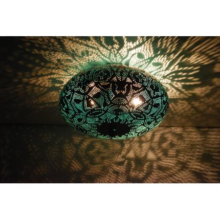 Oosterse plafonnière | Filigrain | zwart | Groen | Arabische lampen | Oosters interieur