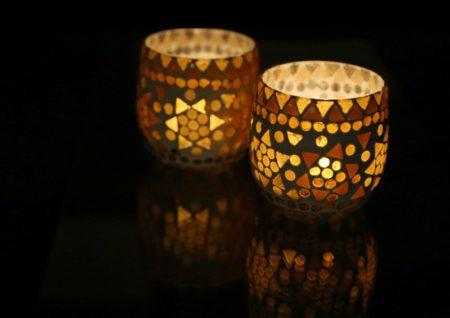 Oosterse waxinehouder | Mozaïek | Bruin beige | Marokkaanse lampen