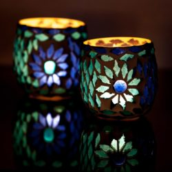 Oosterse waxinehouder | Blauw | Mozaïek | Arabisch interieur
