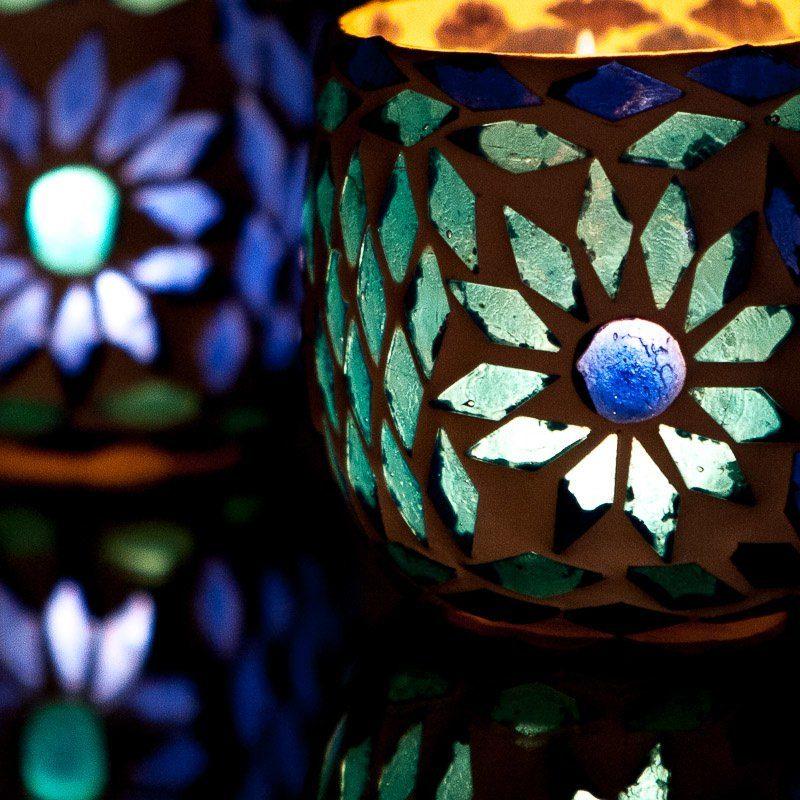 Oosterse waxinehouder   Blauw   Mozaïek   Arabische sfeer